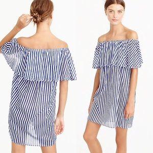 J.Crew Blue White Striped Off the Shoulder Dress S